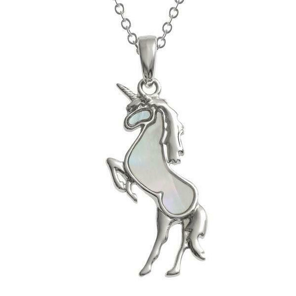 Tide Jewellery Inlaid Paua Shell White Unicorn Necklace