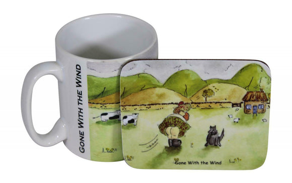 Jubbly Jock Quirky Scottish Humour Movie Mug & Coaster Set - Gone With The Wind