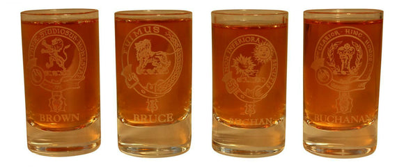 Glencairn Clan Crest Crystal Dram Tot Glass - Brown  Bruce Buchan Buchanan
