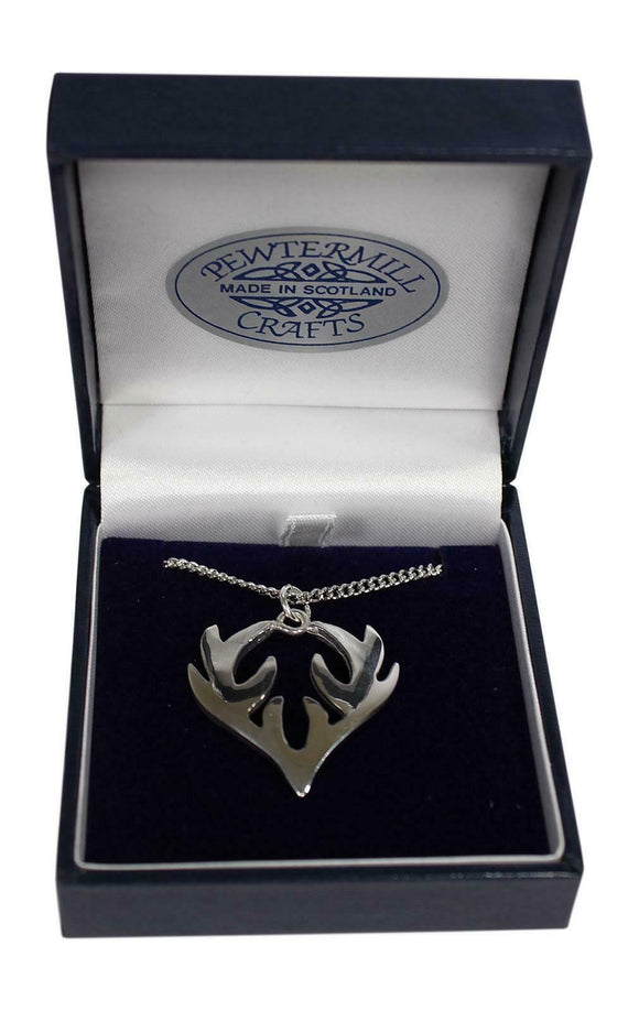 Stunning Scottish Small Highland Stag Polished Pewter Pendant & Chain