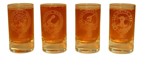 Glencairn Clan Crest Crystal Dram Tot Glass - Anderson Armstrong Barclay Brodie