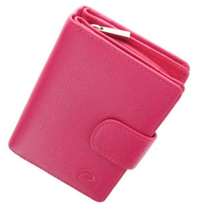 Origin Ladies Tab Purse Wallet Mala Leather with RFID ID Protection 3118 Pink