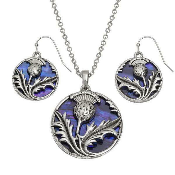 Tide Jewellery Inlaid Purple Paua Shell Scottish Thistle Necklace & Earring Set