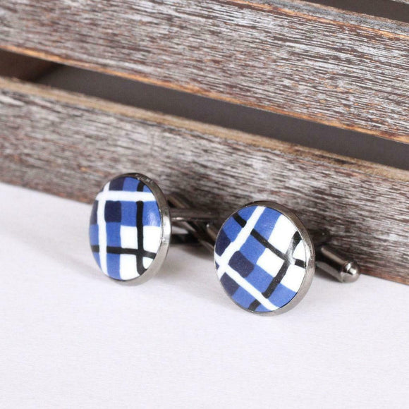 Scottish Blue Tartan Clay Cufflinks with Polished Gun Metal T-Bar Fixings
