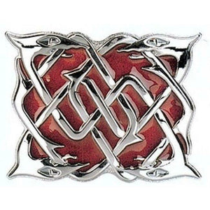 Polished Chrome Serpent Kilt Belt Buckle Red Enameled Background