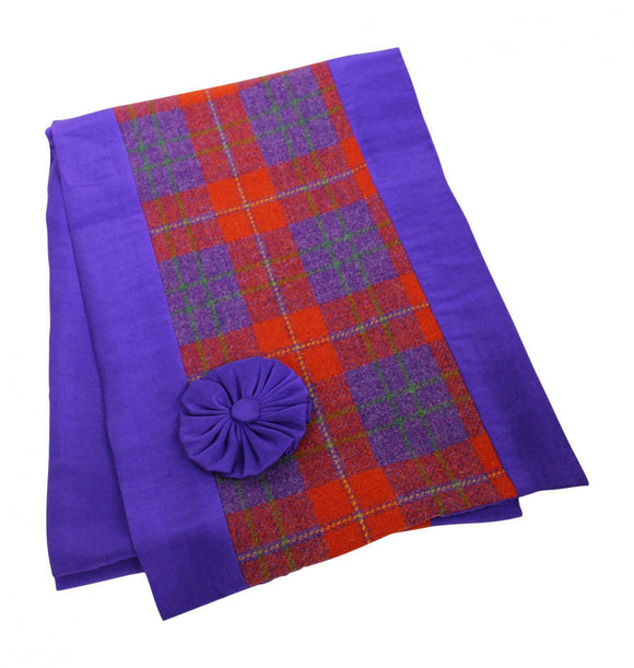 Stunning Orange Tweed Shawl Wrap Scarf With Purple Silk Lining & Movable Corsage