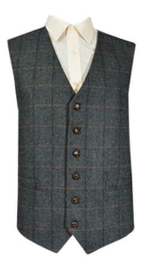Classic Wool Handle Traditional Herringbone Check Tweed Waistcoat - Grey Check