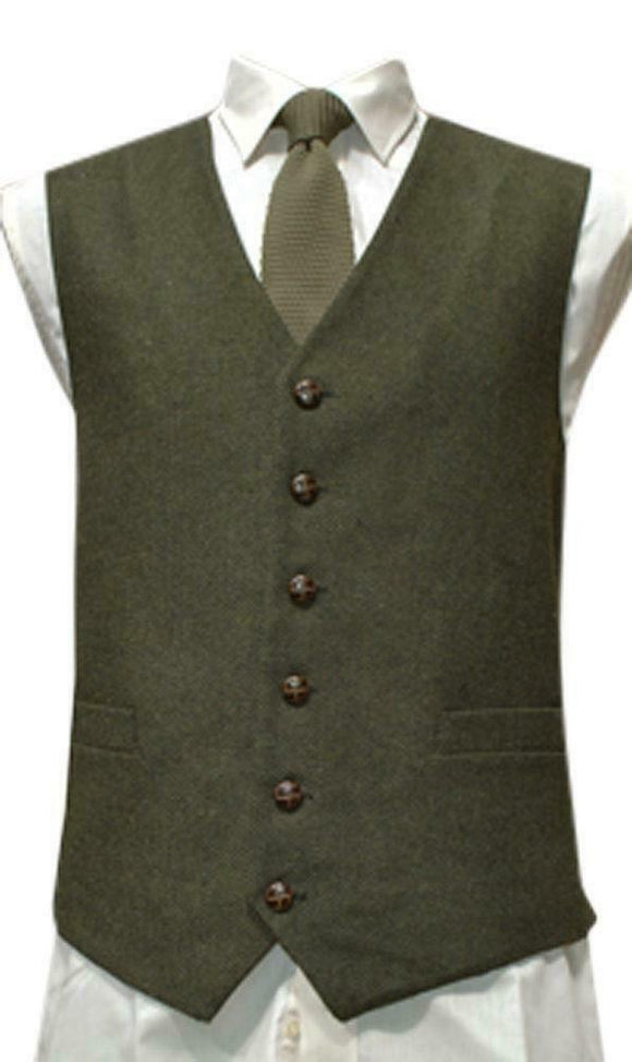Mens Wool Blend Tweed Waistcoat Vest Gilet - Green Herringbone