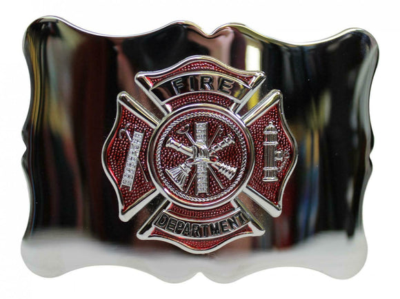 Polished Chrome With Red Enamelled Badge US Fire Department Kilt Belt Buckle