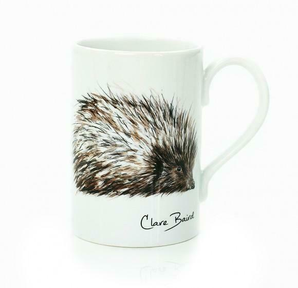 Clare Baird Scottish Cute Spikey Hedgehog Porcelain Mug Cup