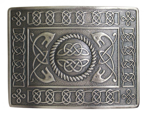 Highland Serpent Celtic Knot Kilt Belt Buckle - Brushed Antique Finish