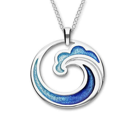 Ortak Costal Blue Green Enamel Wave Round Sterling Silver Necklace Pendant