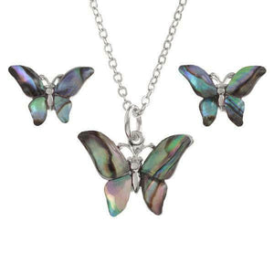 Tide Jewellery Inlaid Paua Shell Butterfly Pendant & Stud Earring Set