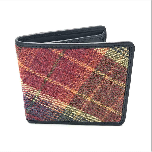 Authentic Classic Red Islay Tweed Leather Embellished Wallet