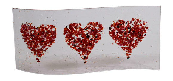 Jules Jules Hand Crafted Red Love Heart Fused Glass Wave Panel