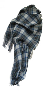 100% Pure Lambswool Traditional Scottish Tartan Stole - Stewart Blue Muted