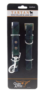 Lovely Blackwatch Tartan Dog Lead and Collar Set - Available in 3 Sizes