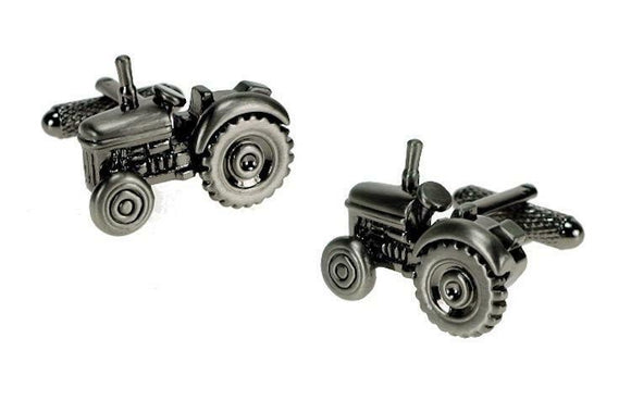 Onyx Art London Classic Tractor Farming Burnished Silver Mens Cufflinks