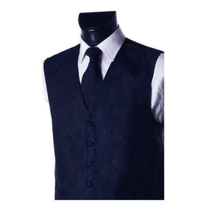 Suede Effect Mens Waistcoat Vest Gilet - Matching Necktie Tie Option - Navy Blue