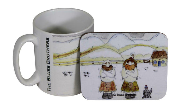 Jubbly Jock Quirky Scottish Humour Movie Mug & Coaster Set - Blues Brothers