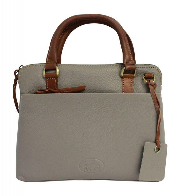Rowallan Prelude Small Grip Shoulder Handbag Purse in Taupe Grey