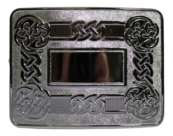 Traditional Dress Celtic Knot Swirl Kilt Belt Buckle - Polished Chrome