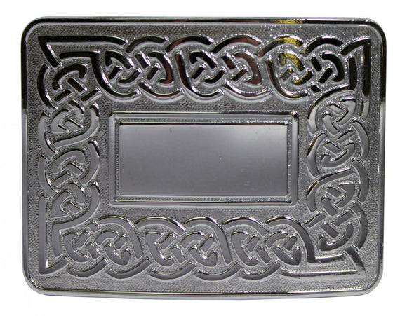 Traditional Dress Celtic Eternal Link Kilt Belt Buckle - Polished Chrome