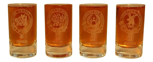 Glencairn Clan Crest Crystal Dram Tot Glass -  Innes Irvine Johnston Keith