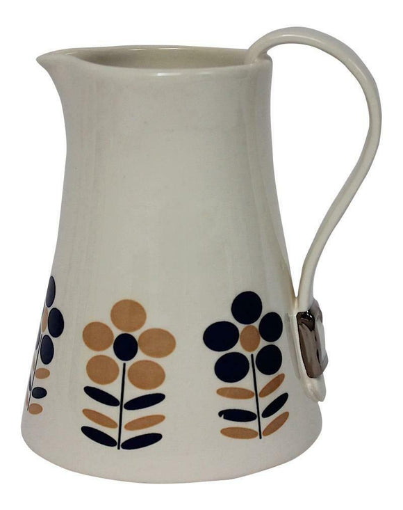 Dimpled Heart Ceramic Nude & Blue Flower Jug With Strap & Buckle Handle Detail