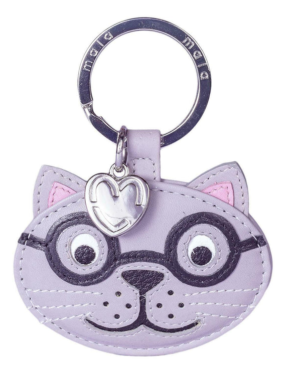 Mala Leather Harry The Grey Silver Scone Cat Kitten Key Fob Keyring
