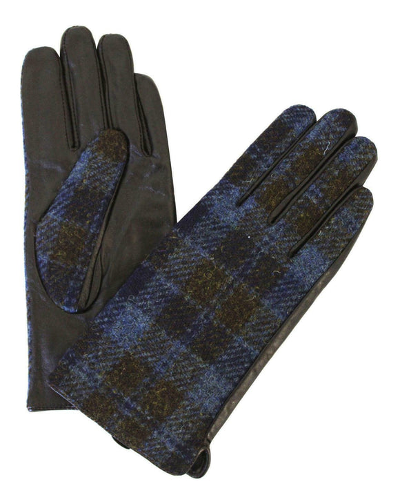 Ladies 100% Harris Tweed Traditional Blue & Brown Check Tweed & Leather Gloves