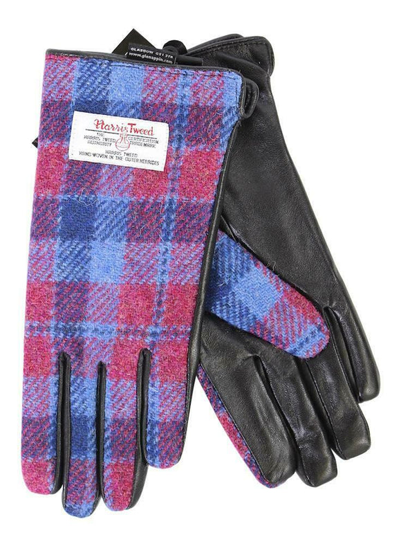 Ladies 100% Harris Tweed Traditional Red Blue Tartan Check Black Leather Gloves
