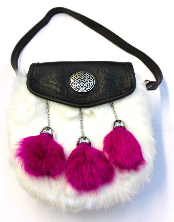 Fabulous Bright Pink and White Rabbit Fur Sporran Handbag