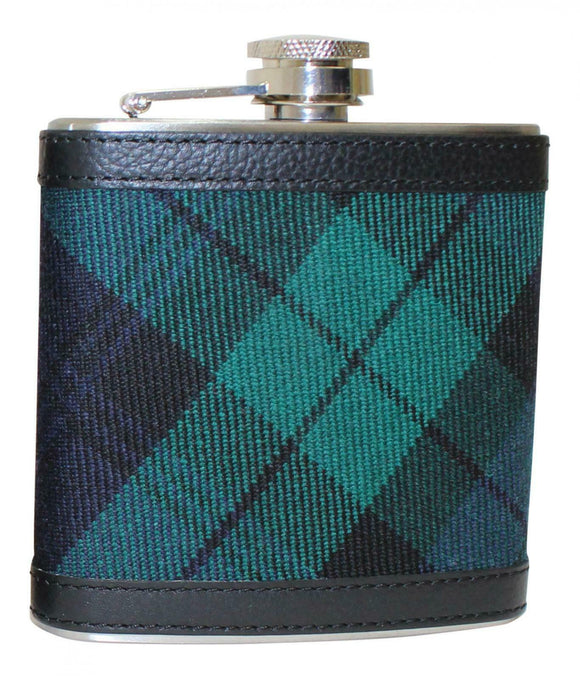 100% Scottish Tartan Wrapped 6oz Stainless Steel Pocket Hip Flask - Blackwatch