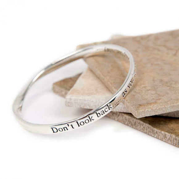 Love The Links Silver Don't Look Back Quote Message Bangle Bracelet