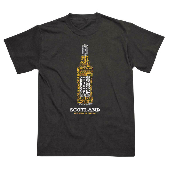 Scotland - The Home of Whisky T-Shirt Features a Bottle Full of Famous Malt