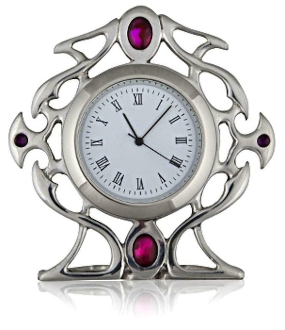Stunning Pewter Celtic Gothic Clock with Purple Enamel and Abalone Stone Inset