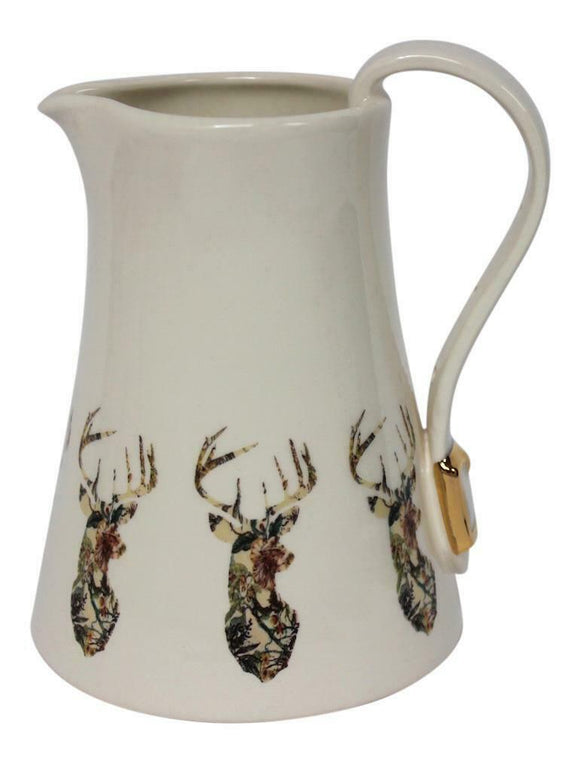 Dimpled Heart Ceramic Wildlife Highland Stag Jug Strap & Buckle Handle Detail