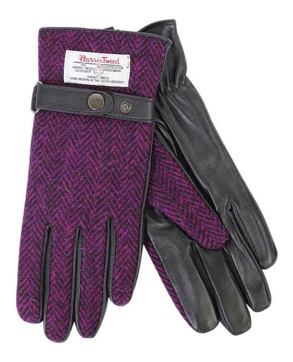 Ladies 100% Harris Tweed Traditional Purple Herringbone and Black Leather Gloves