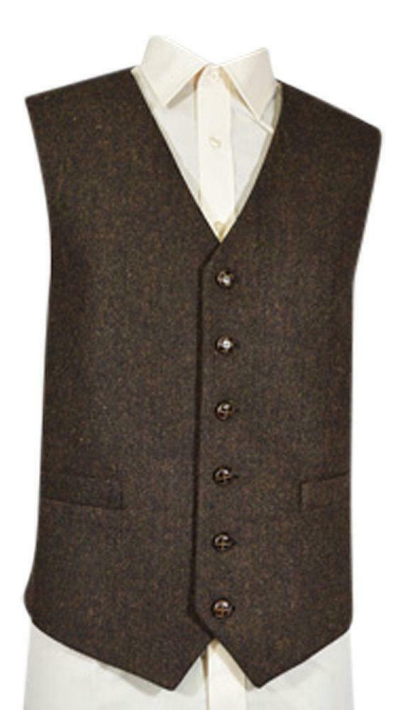 Mens Wool Blend Tweed Waistcoat Vest Gilet - Brown Flecked