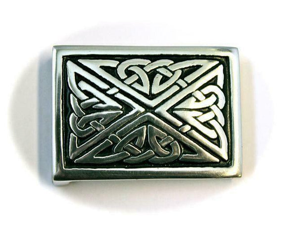 Square Celtic Triquetra Interchangeable Snap Belt Buckle