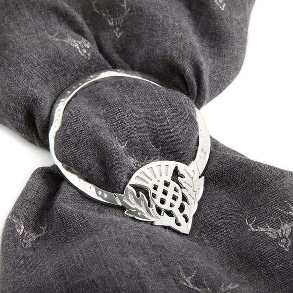 Large Scottish Thistle Pewter Scarf Sash Plaid Ring