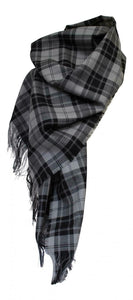 100% Pure Lambswool Authentic Traditional Scottish Tartan Stole - Douglas Grey