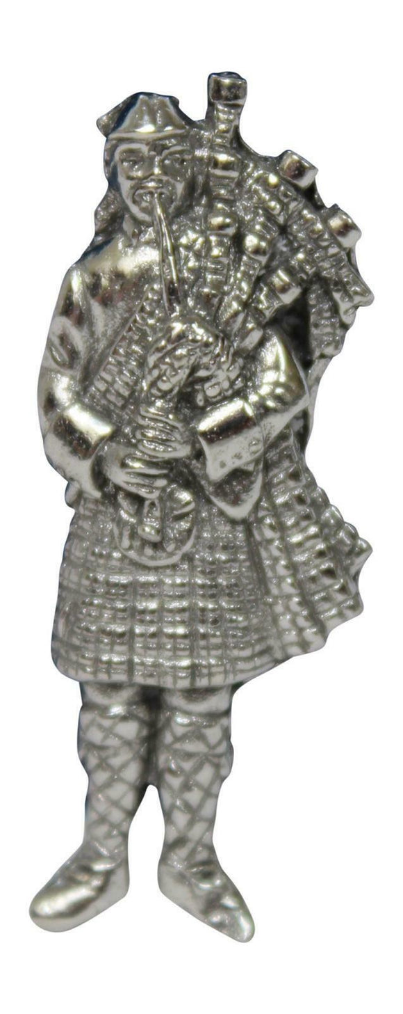 Stunning Pewter Scottish Piper Bagpipes Lapel Pin Badge