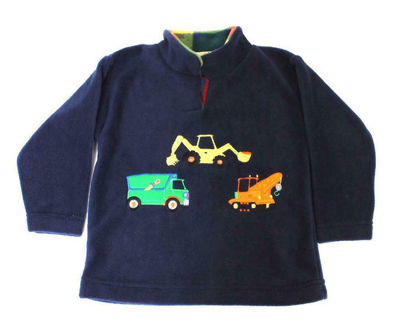 Ramblers Childrens Navy Truck Digger Trio Fleece Jumper With Tartan Collar
