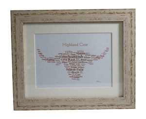 Art By The Loch Handmade Scottish Highland Cow Coo Word Art Picture