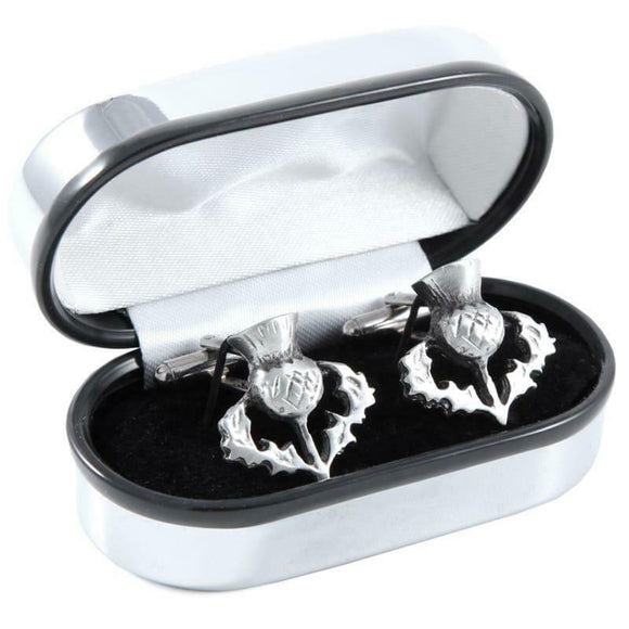 Scotish Pewtermill Chrome Scottish Thistle Cufflinks