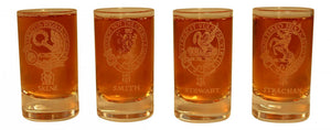 Glencairn Clan Crest Crystal Dram Tot Glass - Skene Smith Stewart Strachan