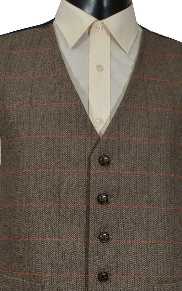 Classic Wool Handle Traditional Check Style Tweed Waistcoat - Brown