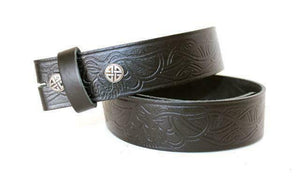 100% Real Leather Celtic Stag Snap On Belt Strap Black Trousers or Jeans